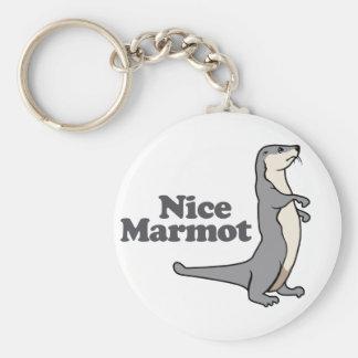 Nice Marmot ferret Basic Round Button Keychain