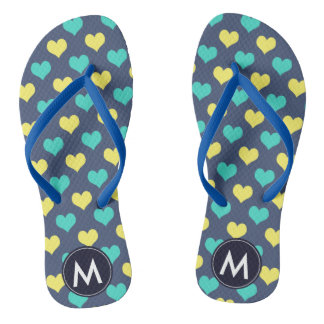 Nice Monogramed Flip Flops with Hearts pattern