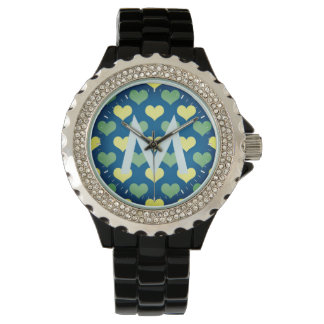 Nice Monogramed Watch with Heart Pattern
