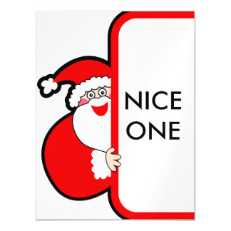 Nice One Typography Christmas Santa Billboard Magnetic Invitations