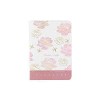 nice passport cover with rose flowers & airplanes