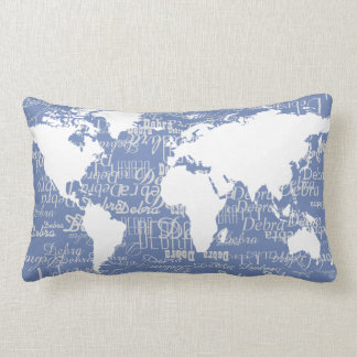nice pattern of names & world map on blue lumbar pillow