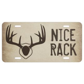 Nice Rack Antlers Hunting Novelty License Plate