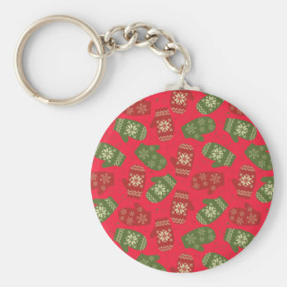 Nice red green Christmas Gloves on red Basic Round Button Keychain