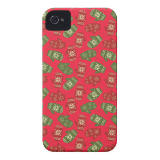 Nice red green Christmas Gloves on red iPhone 4 Cases