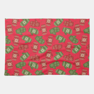 Nice red green Christmas Gloves on red Kitchen Towel