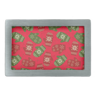 Nice red green Christmas Gloves on red Rectangular Belt Buckle