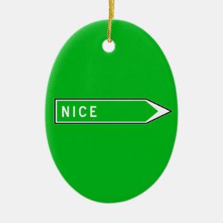 Nice, Road Sign, France Ceramic Ornament