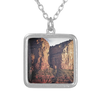 nice rock monument silver plated necklace