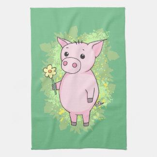 Nice Schweinchen with flower Hand Towel