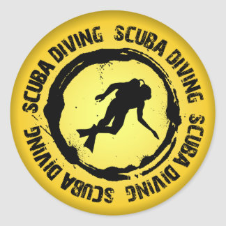Nice Scuba Diving Seal Classic Round Sticker