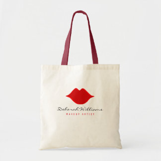 nice tote bag with makeup artist name & red lips