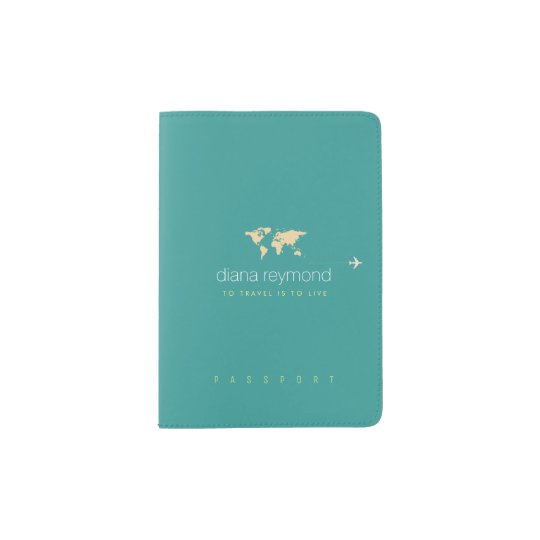 nice turquoise blue passport holder