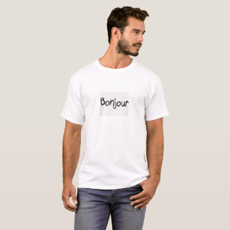 """Nice white tee-shirt : """"Bonjour"""", hello in french T-Shirt"""