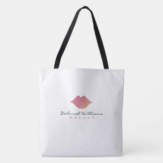 nice white tote bag with her name & pinkish lips