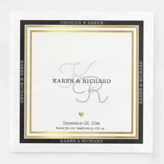 nicely detailed monogrammed wed reception / white disposable napkin