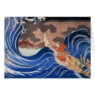 Nichiren calms a storm in Kakuda, Kuniyoshi Card