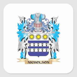 Nicholson Coat of Arms - Family Crest Square Sticker