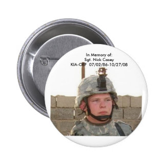 nick face pix, In Memory of:Sgt. Nick CaseyKIA-... 2 Inch Round Button