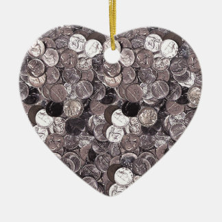 Nickel Coins Graphic Ceramic Ornament