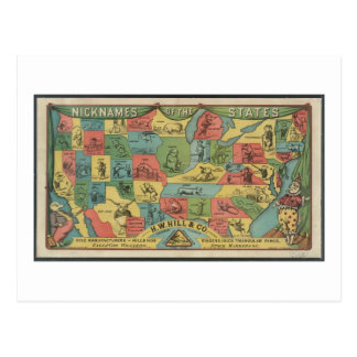 'Nicknames of the states' - Vintage USA Map Postcard