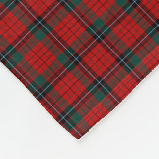 Nicolson Clan Red, Black and Green Tartan Fleece Blanket