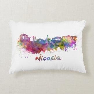 Nicosia skyline in watercolor accent pillow
