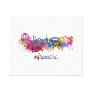 Nicosia skyline in watercolor canvas print