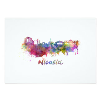 Nicosia skyline in watercolor card
