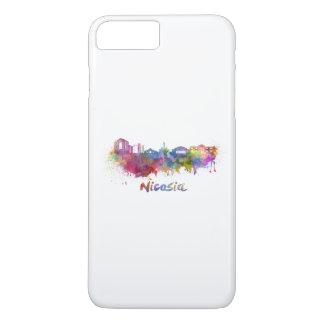 Nicosia skyline in watercolor iPhone 8 plus/7 plus case