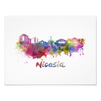 Nicosia skyline in watercolor photo print