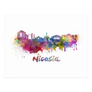 Nicosia skyline in watercolor postcard