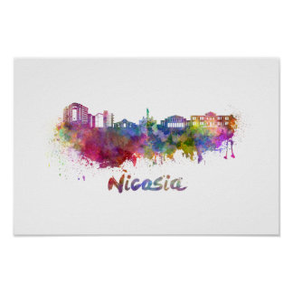 Nicosia skyline in watercolor poster