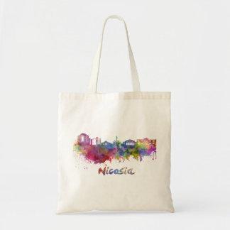Nicosia skyline in watercolor tote bag