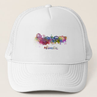 Nicosia skyline in watercolor trucker hat