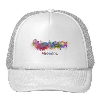 Nicosia skyline in watercolor trucker hat
