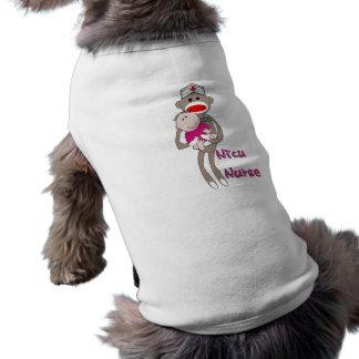 NICU Nurse Sock Monkey & Baby Design Gifts Doggie Tee
