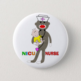 NICU Nurse Sock Monkey Gifts 2 Inch Round Button