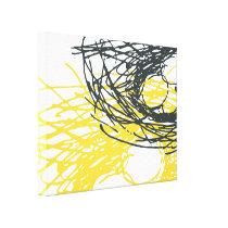 Nid abstrait dans blanc, le gris et le jaune toile tendue