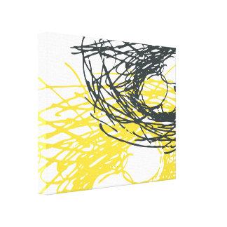 Nid abstrait dans blanc le gris et le jaune toile tendue