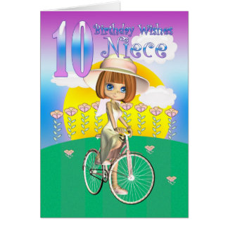 Niece 10th Birthday Card with little girl on bike