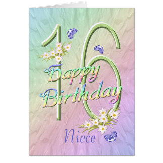 Niece 16th Birthday Butterflies and Flowers Card