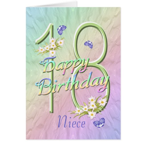 Niece 18th Birthday Butterflies and Flowers Card