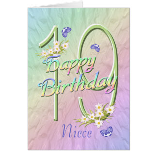 Niece 19th Birthday Butterflies and Flowers Card