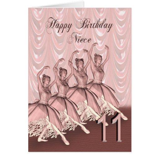 Niece age 11, a ballerina birthday card
