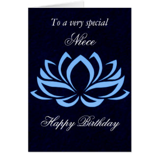 Niece - Birthday - Blue Lotus on Black Card