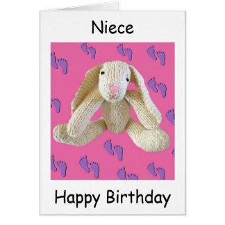 Niece birthday card bunny rabbit.