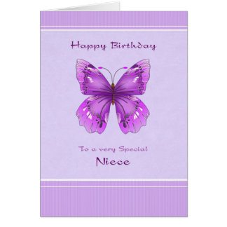 Niece Birthday Card - Purple Butterfly