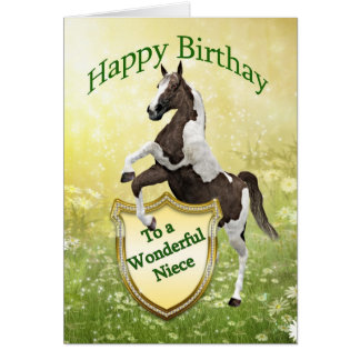 Niece birthday card with a rearing horse