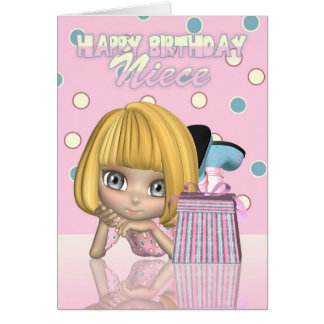Niece Birthday Card With Cute Little Girl And Gift